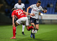 Bolton Wanderers' Pawel Olkowski competing with Middlesbrough's Dael Fry <br /> <br /> Photographer Andrew Kearns/CameraSport<br /> <br /> The EFL Sky Bet Championship - Bolton Wanderers v Middlesbrough -Tuesday 9th April 2019 - University of Bolton Stadium - Bolton<br /> <br /> World Copyright © 2019 CameraSport. All rights reserved. 43 Linden Ave. Countesthorpe. Leicester. England. LE8 5PG - Tel: +44 (0) 116 277 4147 - admin@camerasport.com - www.camerasport.com