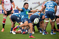 March 14th 2020, Eden Park, Auckland, New Zealand;  Blues halfback Sam Nock box kicks during the Super Rugby match between the Blues and the Lions, held at Eden Park, Auckland, New Zealand.