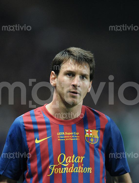 FUSSBALL   UEFA SUPER CUP 2011  26.08.2011 FC Barcelona - FC Porto Lionel Messi (Barca)