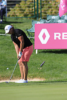 Angela Stanford (USA) chips onto the 18th green during Thursday's Round 1 of The Evian Championship 2018, held at the Evian Resort Golf Club, Evian-les-Bains, France. 13th September 2018.<br /> Picture: Eoin Clarke | Golffile<br /> <br /> <br /> All photos usage must carry mandatory copyright credit (&copy; Golffile | Eoin Clarke)