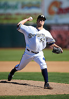 Phoenix Desert Dogs pitcher Jimmy Nelson #57, of the Milwaukee Brewers organization, during an Arizona Fall League game against the Peoria Javelinas at Phoenix Municipal Stadium on October 12, 2012 in Phoenix, Arizona.  Phoenix defeated Peoria 13-3.  (Mike Janes/Four Seam Images)