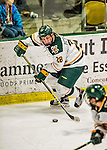 15 November 2015: University of Vermont Catamount Forward Anthony Petruzzelli, a Sophomore from Federal Way, WA, in action against the University of Massachusetts Minutemen at Gutterson Fieldhouse in Burlington, Vermont. The Minutemen rallied from a three goal deficit to tie the game 3-3 in their Hockey East matchup. Mandatory Credit: Ed Wolfstein Photo *** RAW (NEF) Image File Available ***
