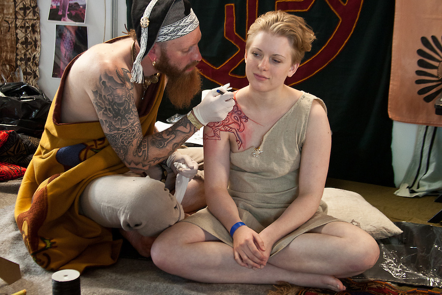 Copenhagen Inkfestival 2012. Traditional celtic tattoo drawn on shoulder and back.