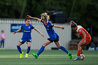 Seattle, WA - Saturday April 22, 2017: Amber Brooks and Beverly Yanez during a regular season National Women's Soccer League (NWSL) match between the Seattle Reign FC and the Houston Dash at Memorial Stadium.