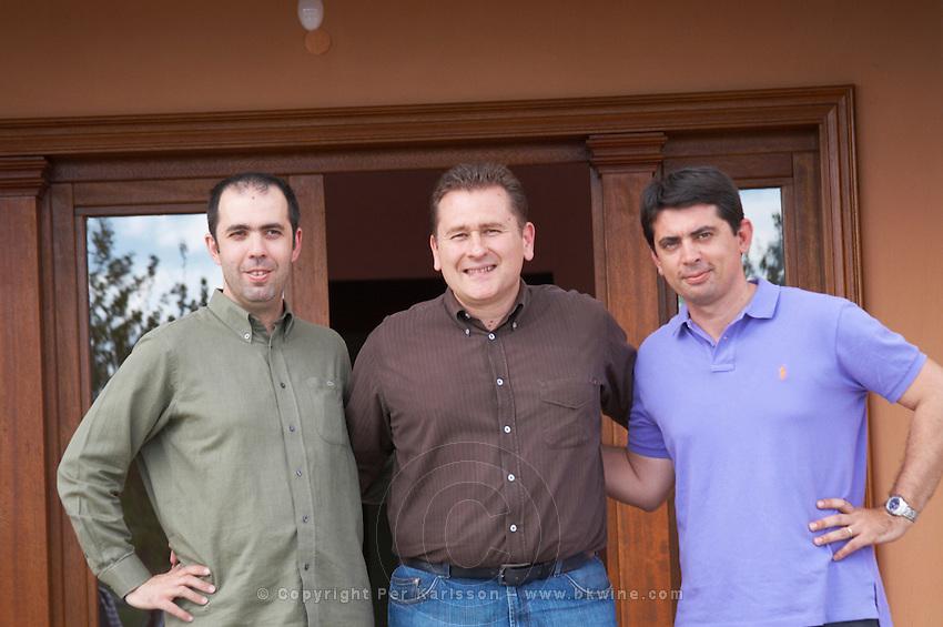 Antonio Kioseglou, oenologist, Angelos Iatridis, CEO winemaker, Stefanos Koundouras,agronomist viticulturist. Alpha Estate Winery, Amyndeon, Macedonia, Greece