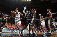 Virginia forward Anthony Gill (13) and Georgia Tech forward Robert Sampson (13) during the game Jan. 22, 2015, in Charlottesville, Va. Virginia defeated Georgia Tech 57-28.