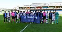 20191022 – OOSTENDE , BELGIUM : illustration picture shows both teams posing behind the uefa flag with Equal Game and Respect on it during a soccer game between Club Brugge KV and Paris Saint-Germain ( PSG )  on the third matchday of the UEFA Youth League – Champions League season 2019-2020 , thuesday  22 th October 2019 at the Versluys Arena in Oostende  , Belgium  .  PHOTO SPORTPIX.BE | DAVID CATRY