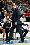Zalgiris Kaunas´s coach Krapikas during Euroleague basketball match in Madrid, Spain. October 17, 2014. (ALTERPHOTOS/Victor Blanco)