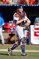 Chad Wallach #29 of the Cal State Fullerton Titans during a game against the UCLA Bruins during the NCAA Super Regional at Goodwin Field on June 7, 2013 in Fullerton, California. UCLA defeated Cal State Fullerton, 5-3. (Larry Goren/Four Seam Images)