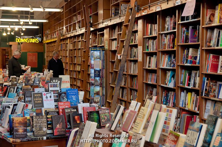 Bookshelves in Manhattan bookstore Shakespear & Co