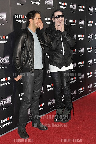 """Eli Roth (left) & Marilyn Manson at the world premiere of """"Scream 4"""" at Grauman's Chinese Theatre, Hollywood,.April 11, 2011  Los Angeles, CA.Picture: Paul Smith / Featureflash"""
