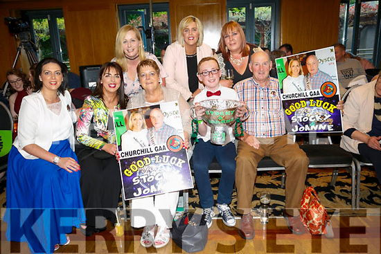 Enjoying   the Churchill GAA Strictly Come Dancing in the Ballyroe Heights Hotel on Sunday were front l-r Jacinta Lawlor, Mary Kelly, Ann Lawlor, Ronan Kelly, Jim Lawlor, Back l-r Helen finn, Jemma Lawlor and Catherine Fitzmaurice supporting Stocky and Joanne
