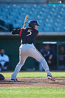 Lake Elsinore Storm designated hitter Taylor Kohlwey (5) during a California League game against the Lancaster JetHawks on April 10, 2019 at The Hanger in Lancaster, California. Lake Elsinore defeated Lancaster 10-0 in the first game of a doubleheader. (Zachary Lucy/Four Seam Images)