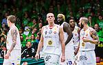 S&ouml;dert&auml;lje 2015-04-19 Basket SM-Final 1 S&ouml;dert&auml;lje Kings - Uppsala Basket :  <br /> Uppsalas  Rickard Eriksson deppar med lagkamrater Thomas Jackson , Brice Massamba under matchen mellan S&ouml;dert&auml;lje Kings och Uppsala Basket <br /> (Foto: Kenta J&ouml;nsson) Nyckelord:  S&ouml;dert&auml;lje Kings SBBK T&auml;ljehallen Basketligan SM SM-Final Final Uppsala Basket depp besviken besvikelse sorg ledsen deppig nedst&auml;md uppgiven sad disappointment disappointed dejected