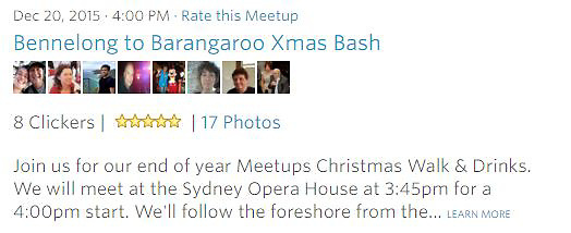 Meetup Photowalk - Join us for our end of year Meetups Christmas Walk &amp; Drinks. We will meet at the Sydney Opera House at 3:45pm for a 4:00pm start.<br />
