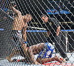 Robbie Peralta pummels Mackens Semerzier in a featherweight match during Saturday's UFC on Fox event at the Honda Center.