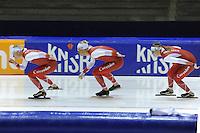 SCHAATSEN: HEERENVEEN: 24-10-2014, IJsstadion Thialf, Topsporttraining, Sjoerd de Vries, Maurice Vriend, Lotte van Beek, ©foto Martin de Jong