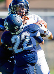 Palos Verdes, CA 09/24/16 - Ethan Gretzinger (Rolling Hills #5) and Zach Goodman (Chadwick #22) in action during the non-conference CIF 8-Man Football  game between Rolling Hills Prep and Chadwick at Chadwick.