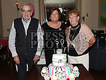 Sandra Reay celebrating her 50th birthday in the Thatch with parents Tommy and Imelda McDonnell. Photo:Colin Bell/pressphotos.ie