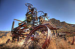 A magnificently aged contraption rests near the Grand Canyon.