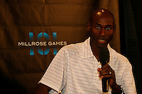 Bernard Lagat answering questions during press conference for the 101st. MILLROSE GAMES to be held at Madison Square Garden on Friday night February 3rd. 2008. Bernard will be running in the WANAMAKER Mile. Photo by Errol Anderson,The Sporting Image..