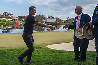 Matthew Wallace (ENG) shakes hands with the Arnold Palmer Invitational leadership near the green on 18 following round 4 of the Arnold Palmer Invitational at Bay Hill Golf Club, Bay Hill, Florida. 3/10/2019.<br /> Picture: Golffile | Ken Murray<br /> <br /> <br /> All photo usage must carry mandatory copyright credit (© Golffile | Ken Murray)