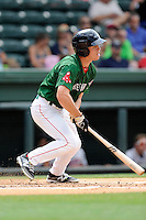 Outfielder Mike Meyers (2) of the Greenville Drive bats in a game against the Rome Braves on Sunday, June 14, 2015, at Fluor Field at the West End in Greenville, South Carolina. Rome won, 5-2. (Tom Priddy/Four Seam Images)