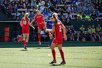 Seattle, WA - Saturday, August 26th, 2017: Dagný Brynjarsdóttir during a regular season National Women's Soccer League (NWSL) match between the Seattle Reign FC and the Portland Thorns FC at Memorial Stadium.