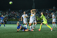 Allston, MA - Wednesday Sept. 07, 2016: Kristie Mewis, Abigail Dahlkemper, Sabrina D'Angelo during a regular season National Women's Soccer League (NWSL) match between the Boston Breakers and the Western New York Flash at Jordan Field.