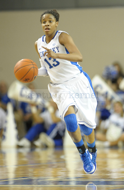 Kentucky's Bria Goss (13) brings up the ball during the first half of the University of Kentucky Women's basketball game against Mississippi State at Memorial Coliseum in Lexington, Ky., on 1/8/12. Uk led the game at half 50-21. Photo by Mike Weaver | Staff