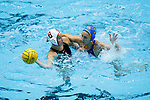 INDIANAPOLIS, IN - MAY 14: Jamie Neushul (8) of Stanford University protects the ball from Kodi Hill (3) of UCLA during the Division I Women's Water Polo Championship held at the IU Natatorium-IUPUI Campus on May 14, 2017 in Indianapolis, Indiana. Stanford edges UCLA, 8-7, to win fifth women's water polo title in the past seven years. (Photo by Joe Robbins/NCAA Photos/NCAA Photos via Getty Images)