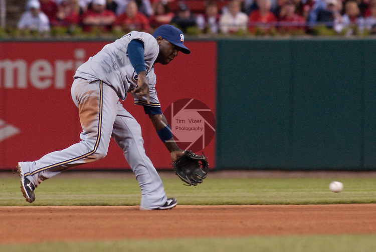 06 May 2011                              Milwaukee Brewers shortstop Yuniesky Betancourt (3) fields a grounder late in the game. The St. Louis Cardinals defeated the Milwaukee Brewers 6-0 on Friday May 6, 2011 in the first game of a three-game series at Busch Stadium in downtown St. Louis.