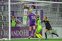 Orlando, FL - Thursday September 07, 2017: Rachel Hill, Jess Fishlock during a regular season National Women's Soccer League (NWSL) match between the Orlando Pride and the Seattle Reign FC at Orlando City Stadium.