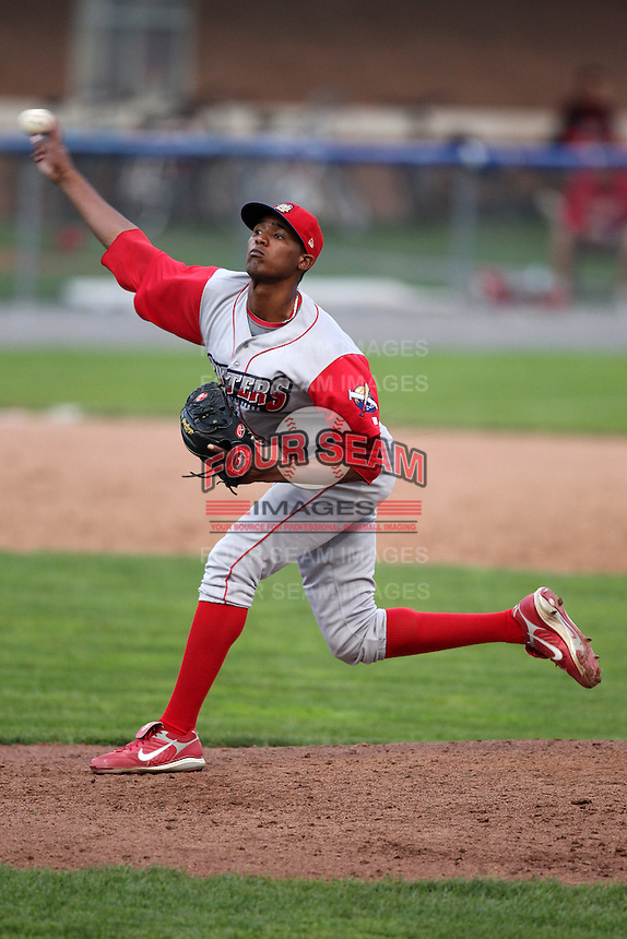 Williamsport Crosscutters relief pitcher Juan Sosa (27) during the first game of a double header vs. the Batavia Muckdogs at Dwyer Stadium in Batavia, New York;  August 25, 2010.   Batavia defeated Williamsport 4-3.  Photo By Mike Janes/Four Seam Images