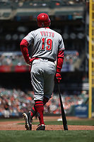 SAN FRANCISCO, CA - MAY 16:  Joey Votto #19 of the Cincinnati Reds pauses at home plate during an umpires meeting on the field during the game against the San Francisco Giants at AT&T Park on Wednesday, May 16, 2018 in San Francisco, California. (Photo by Brad Mangin)