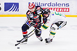 S&ouml;dert&auml;lje 2014-09-22 Ishockey Hockeyallsvenskan S&ouml;dert&auml;lje SK - IF Bj&ouml;rkl&ouml;ven :  <br /> S&ouml;dert&auml;ljes Christopher Aspeqvist i kamp om pucken med Bj&ouml;rkl&ouml;vens Mats Lavander <br /> (Foto: Kenta J&ouml;nsson) Nyckelord: Axa Sports Center Hockey Ishockey S&ouml;dert&auml;lje SK SSK Bj&ouml;rkl&ouml;ven L&ouml;ven IFB