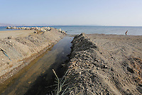 Pictured: A stream, believed to be the same one running past the second site where a search took place, ends up in the sea in Kos, Greece. Monday 17 October 2016<br />Re: The search for missing Ben Needham led by South Yorkshire Police has concluded on the Greek island of Kos.<br />Ben, from Sheffield, was 21 months old when he disappeared on 24 July 1991 during a family holiday.<br />Digging took place around the farmhouse where Ben Needham was last seen and at a new site after a fresh line of inquiry suggested he could have been crushed by a digger.