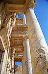 Looking up at the columns that adorn the facade of the recontructed Library of Celsus at Ephesus, Turkey