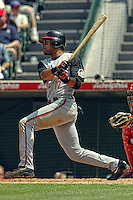Barry Larkin In a  MLB game played at Edison Field where the Angels beat the Reds 7-3