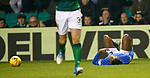 19.12.2018 Hibs v Rangers: Lassana Coulibaly tackled by Ryan Porteous