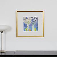 "Majoli: 2 Bouquets On Blue, Digital Print, Image Dims. 12"" x 12"", Framed Dims. 22.5"" x 21.5"""