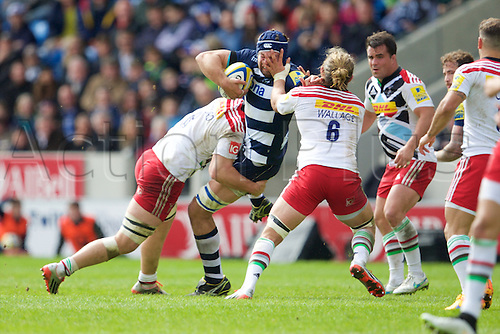 25.04.2015.  Sale, England.  Aviva Premiership Rugby. Sale Sharks versus Harlequins. Sale Sharks lock Josh Beaumont gets a hand in the face from Wallace (Quins) during the tackle.