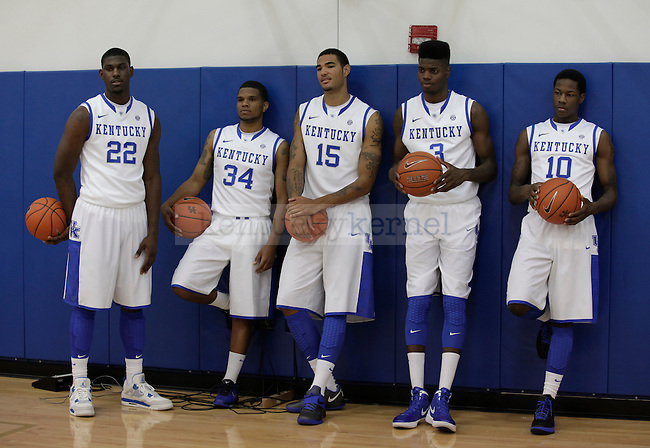 Alex Poythress, Julius Mays, Willie Cauley-Stein, Nerlens Noel and Archie Goodwin posed for a group photo in the Joe Craft Center on Monday, Sept. 17, 2012. Photo by Latara Appleby | Staff