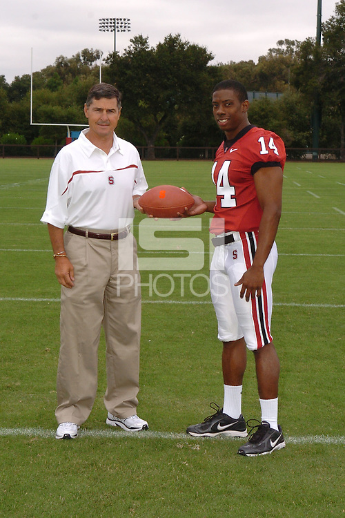 7 August 2006: Stanford Cardinal head coach Walt Harris and Tim Sims during Stanford Football's Team Photo Day at Stanford Football's Practice Field in Stanford, CA.