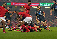 Wales' Dan Biggar scores his side's second try<br /> <br /> Photographer Ian Cook/CameraSport<br /> <br /> Under Armour Series Autumn Internationals - Wales v Tonga - Saturday 17th November 2018 - Principality Stadium - Cardiff<br /> <br /> World Copyright © 2018 CameraSport. All rights reserved. 43 Linden Ave. Countesthorpe. Leicester. England. LE8 5PG - Tel: +44 (0) 116 277 4147 - admin@camerasport.com - www.camerasport.com