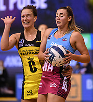 4th July 2020, Auckland, New Zealand;  Claire Kersten and Gina Crampton.<br /> Central Pulse versus Southern Steel. ANZ Premiership Netball. Auckland Netball Centre, Saturday 4 July 2020.