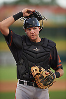AZL Giants Black catcher Matt Malkin (5) during an Arizona League game against the AZL Athletics Gold on July 12, 2019 at Hohokam Stadium in Mesa, Arizona. The AZL Giants Black defeated the AZL Athletics Gold 9-7. (Zachary Lucy/Four Seam Images)