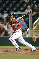 Fort Myers Miracle outfielder Jason Kanzler (8) at bat during a game against the Tampa Yankees on April 15, 2015 at Hammond Stadium in Fort Myers, Florida.  Tampa defeated Fort Myers 3-1 in eleven innings.  (Mike Janes/Four Seam Images)