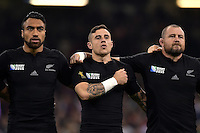 Victor Vito, TJ Perenara and Tony Woodcock of New Zealand sing the national anthems. Rugby World Cup Pool C match between New Zealand and Georgia on October 2, 2015 at the Millennium Stadium in Cardiff, Wales. Photo by: Patrick Khachfe / Onside Images