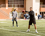 March 19, 2017. Chapel Hill, North Carolina.<br /> <br /> Mitch Trubisky warms up on the UNC practice field as he prepares for his Pro Day.<br /> <br /> Mitchell Trubisky, the former quarterback of UNC-CH, is projected to be picked in the first round of the 2017 NFL draft.